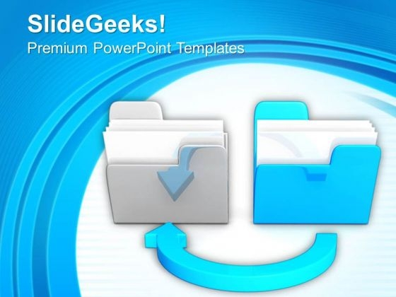 Exchange Of Data On Computer Folders PowerPoint Templates Ppt Backgrounds For Slides 0813