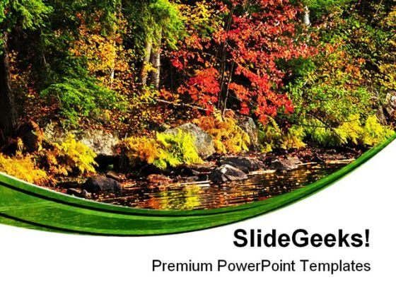Fall Forest And Lake Shore Nature PowerPoint Templates And PowerPoint Backgrounds 0411