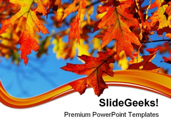 Fall Oak Leaves Nature PowerPoint Themes And PowerPoint Slides 0511