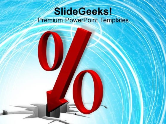 Falling Percent Symbol PowerPoint Templates Ppt Backgrounds For Slides 0113