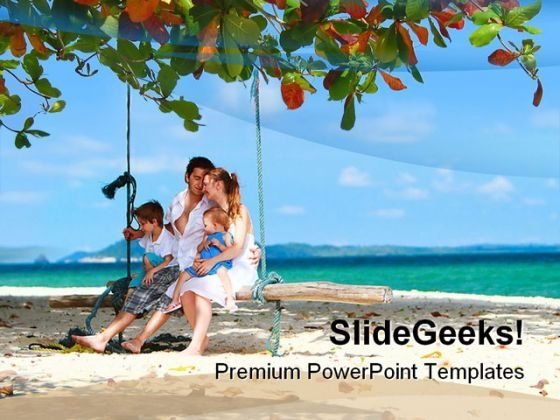 Family On Vacation Beach PowerPoint Themes And PowerPoint Slides 0511
