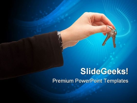 Female Holding Pair Of Key Security PowerPoint Themes And PowerPoint Slides 0311