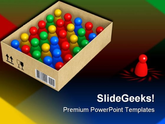Figures In Box Leadership PowerPoint Themes And PowerPoint Slides 0511
