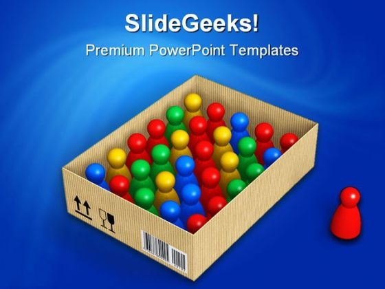 Figures In Box Standout Shapes PowerPoint Backgrounds And Templates 1210
