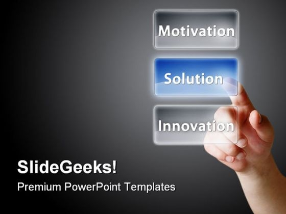 Finger Press On Solution People PowerPoint Backgrounds And Templates 1210