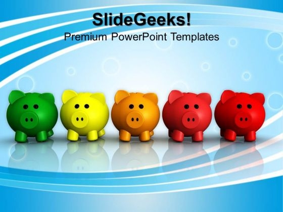 Five Colorful Piggy Banks Saving PowerPoint Templates And PowerPoint Themes 1012