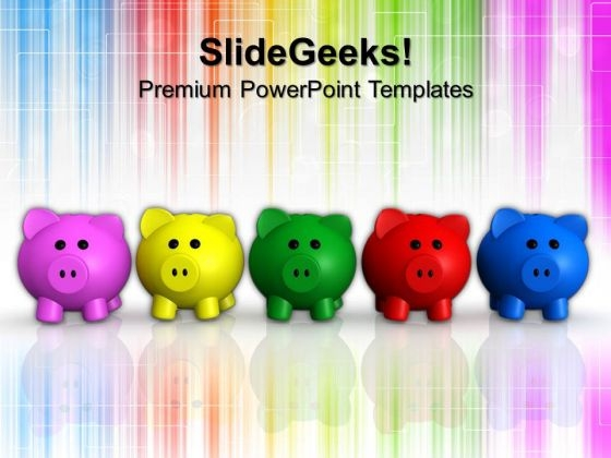 Five Colors Piggy Bank Finance PowerPoint Templates And PowerPoint Themes 1012