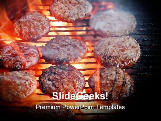 Flame Burgers Food PowerPoint Template 0810