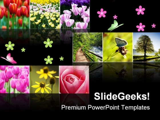 Flower Collage Nature PowerPoint Themes And PowerPoint Slides 0811