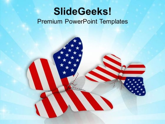 Flying Free American Butterflies PowerPoint Templates Ppt Backgrounds For Slides 0813