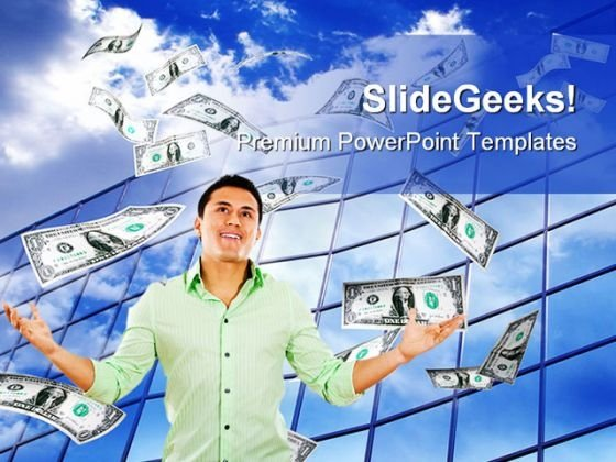 Flying Money Business PowerPoint Themes And PowerPoint Slides 0211