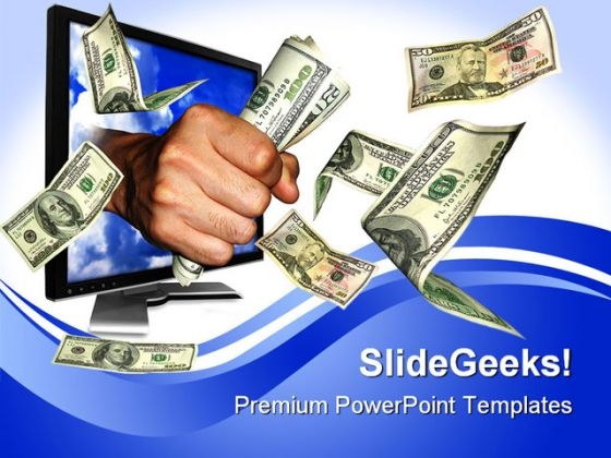 Flying Money Computer PowerPoint Themes And PowerPoint Slides 0411