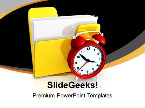 Folder And Alarm Clock Security PowerPoint Templates Ppt Backgrounds For Slides 1212