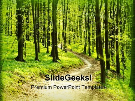 Forest Pathway Geographical PowerPoint Templates And PowerPoint Backgrounds 0411
