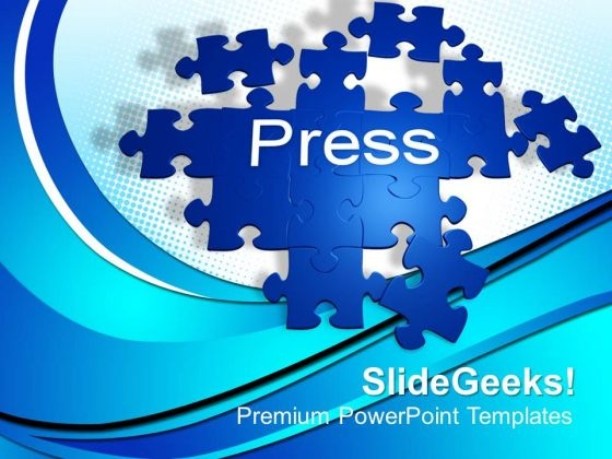 Forming Puzzle With The Word Press Solution PowerPoint Templates And PowerPoint Themes 1012