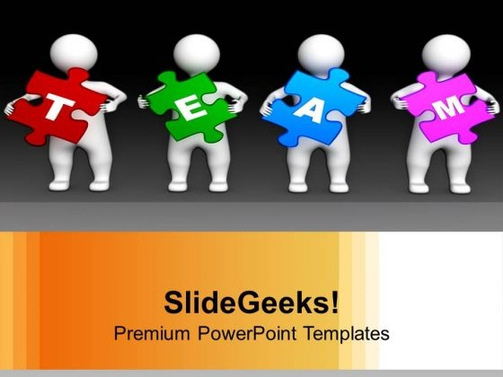 Four 3d Persons Holding Puzzle Pieces PowerPoint Templates Ppt Backgrounds For Slides 0313