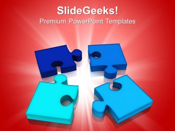 Four Jigsaw Puzzle Pieces Strategy Business PowerPoint Templates Ppt Backgrounds For Slides 1212