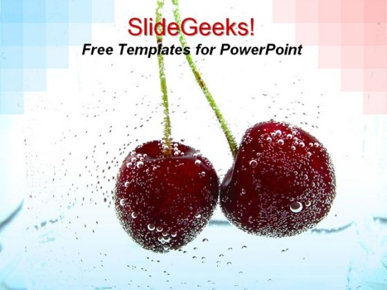 Red Cherry Fruit PowerPoint Template