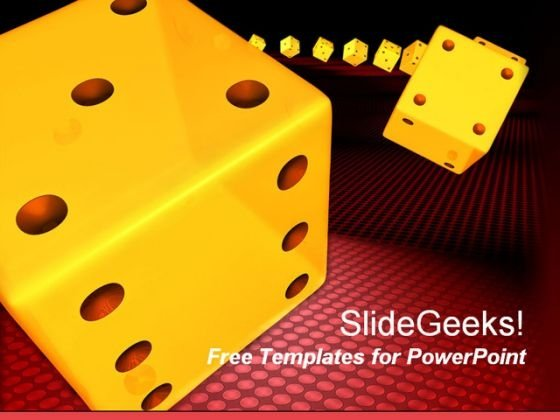 Yellow Gamble Dice PowerPoint Template