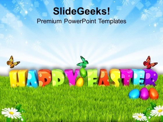 Garden Theme For Good Wishes Of Happy Easter PowerPoint Templates Ppt Backgrounds For Slides 0313