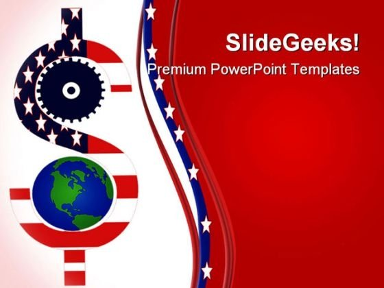 Gear And Dollar Global Symbol PowerPoint Themes And PowerPoint Slides 0511