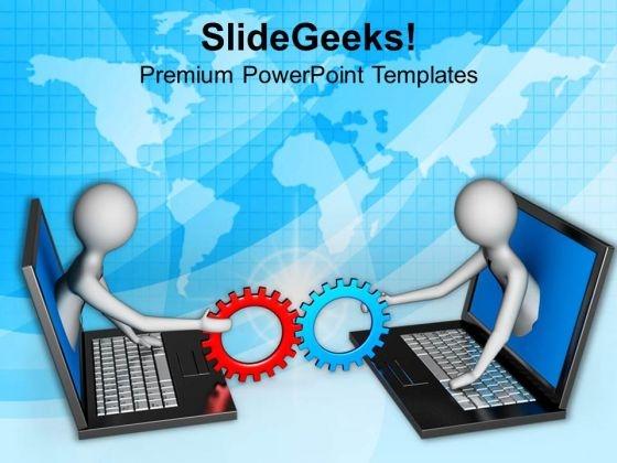Gear Mechanism Online Concept PowerPoint Templates Ppt Backgrounds For Slides 0813