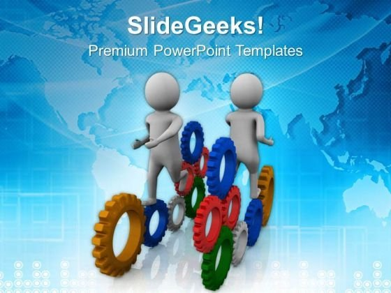 Gear The Business Processes PowerPoint Templates Ppt Backgrounds For Slides 0513