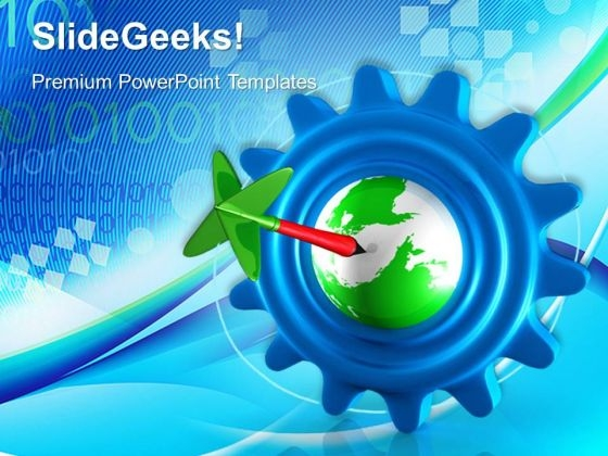 Gear With Earth Global Targets PowerPoint Templates And PowerPoint Themes 0612