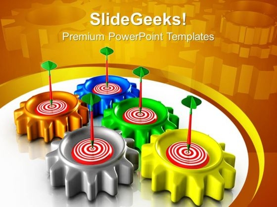 Gear With Target Industrial PowerPoint Templates And PowerPoint Themes 0712
