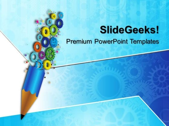 Gears And Pencil01 Gearwheels PowerPoint Templates And PowerPoint Themes 0512