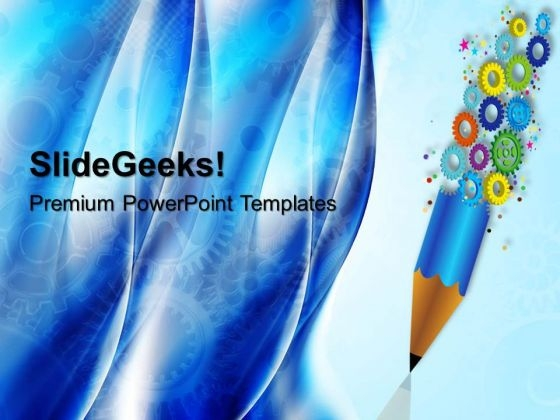 Gears And Pencil Industrial PowerPoint Templates And PowerPoint Themes 0512