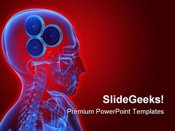 Gears In Head Business PowerPoint Background And Template 1210