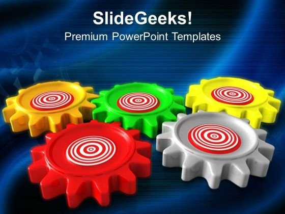 Gears Target Business Mechanism PowerPoint Templates Ppt Backgrounds For Slides 0313