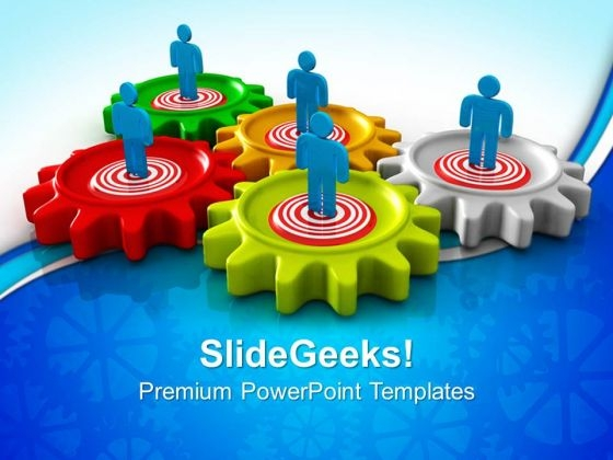 Gears Target Teamwork PowerPoint Templates And PowerPoint Themes 0612