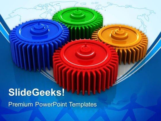 Gears Teamwork Global PowerPoint Templates And PowerPoint Themes 0512
