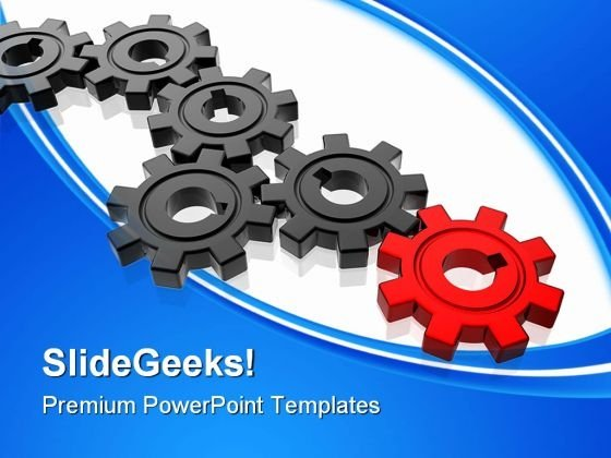 Gears With Leadership Business PowerPoint Templates And PowerPoint Backgrounds 0611