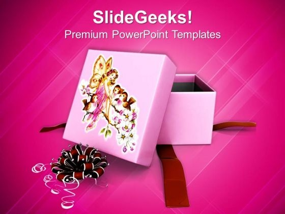 Gift Box For Christmas Presents PowerPoint Template 1113