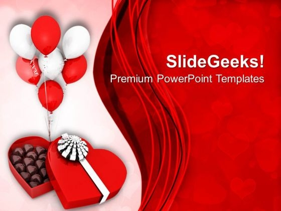 Gift Box With Balloons Valentines PowerPoint Templates Ppt Backgrounds For Slides 0213