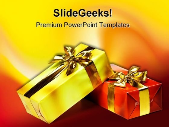 Gift Box With Golden Ribbon Events PowerPoint Themes And PowerPoint Slides 0411