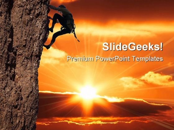 Girl Climbing Success PowerPoint Themes And PowerPoint Slides 0411