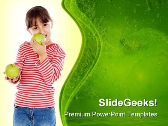 Girl Eating An Apple Food PowerPoint Templates And PowerPoint Backgrounds 0211