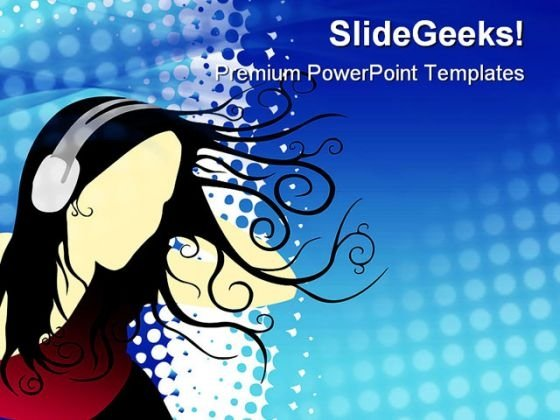 Girl Listening Music Entertainment PowerPoint Themes And PowerPoint Slides 0811