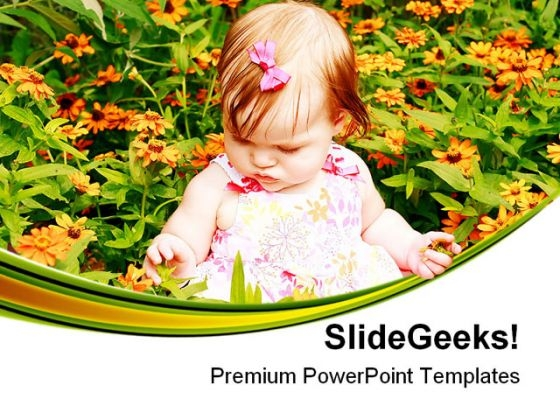Girl Sitting In Flowers Baby PowerPoint Themes And PowerPoint Slides 0511