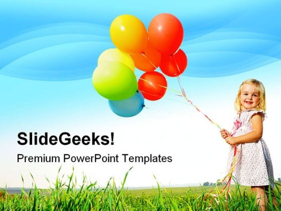 Girl With Balloon Holidays PowerPoint Themes And PowerPoint Slides 0411