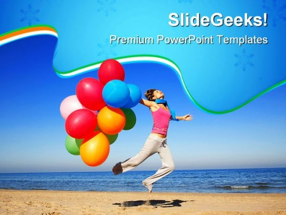 Girl With Colorful Balloons Holidays PowerPoint Themes And PowerPoint Slides 0611