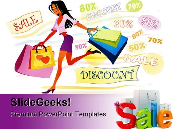 Girl With Shopping Bags Sales PowerPoint Backgrounds And Templates 1210