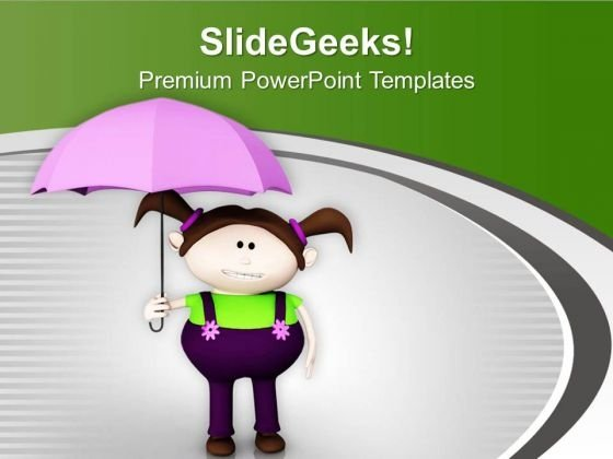Girl With Umbrella PowerPoint Templates Ppt Backgrounds For Slides 0613