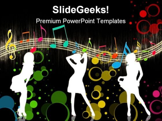 Girls Dancing On Music Entertainment PowerPoint Themes And PowerPoint Slides 0411