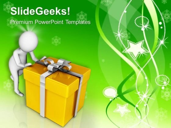 Give And Receive Presents At Christmas PowerPoint Templates Ppt Backgrounds For Slides 0713