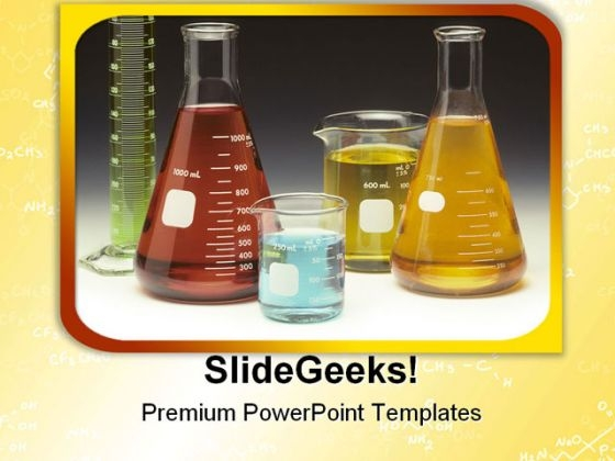 Glassware Labortary Medical PowerPoint Template 0910